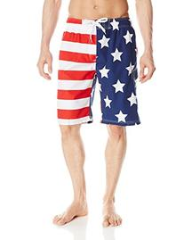 Kanu Surf Men's American Flag Swim Trunks, Flag, Large
