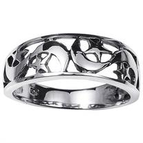 Ancient Eastern Star and Crescent Moon Sterling Silver Ring