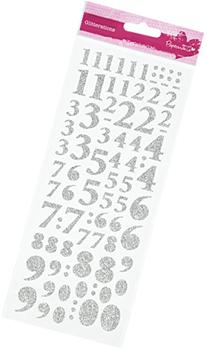 docrafts Anita's Glitterations Numbers Stickers, Silver
