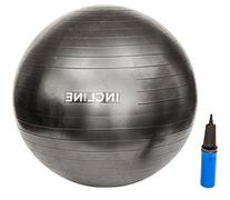Incline Fit Anti Burst Exercise Stability Ball with Pump,