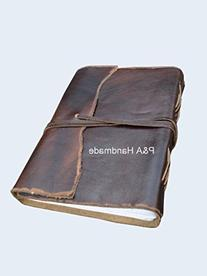Antique Dark Brown Leather Journal Diary -Leather Cord