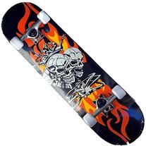 Apex® Complete Flaming Skull Crown Skateboard Twin Kick