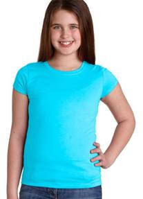 Next Level Apparel Youth Crewneck T-Shirt, Tahiti Blue,