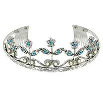 1928 Company Aqua Crystal Flower Wedding Tiara