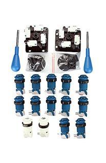 Happ Arcade Control Panel Blue Kit - 14 Buttons & Joysticks