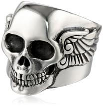 "King Baby ""Industrial Romance"" Men's Arch Wing Skull Ring,"