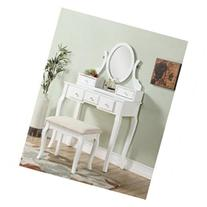 Ashley Wood Makeup Vanity Set with Mirror, White