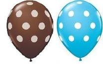 24 Assorted Balloons - Blue with White Polka Dots and Brown