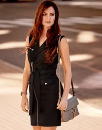 Morgan Asymetric Zip Waistcoat Dress With Belt
