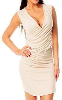 Glamour Empire Womens Asymmetric Drape Dress Sleeveless Wrap