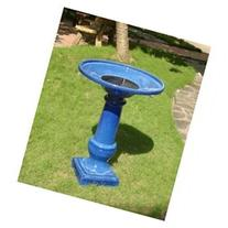 Athena Blue Ceramic Solar on Demand Birdbath