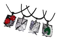 ATTACK ON TITAN Set of 4 Metal Logo Necklace PENDANTS on