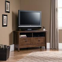 Sauder August Hill Corner Entertainment Stand, Oiled Oak
