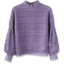 Chicwish Autumnal Elegance Crochet Top in Purple