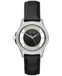 AX Armani Exchange Women's Black Leather Strap Watch 36mm