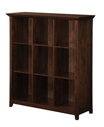 Simpli Home Acadian Solid Wood 9 Cube Storage Bookcase, Rich