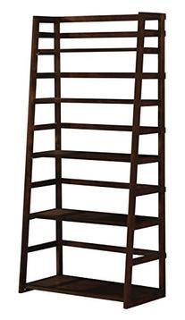 Simpli Home Acadian Ladder Shelf Bookcase, Rich Tobacco