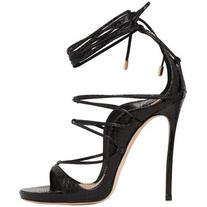 DSQUARED2 120mm Ayers Snakeskin Lace-Up Sandals - Black