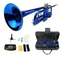Merano B Flat BLUE / Silver Trumpet with Case+Mouth Piece+