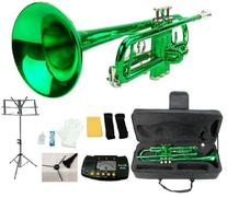 Merano B Flat Green / Silver Trumpet with Case+Mouth Piece+