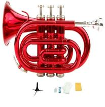 Merano B Flat Red Pocket Trumpet with Case+Mouth Piece;Valve