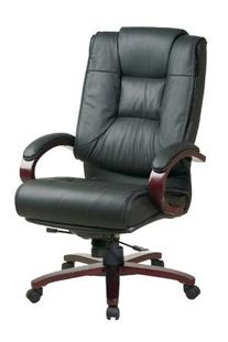 Office Star High Back Plush Leather Back and Seat with
