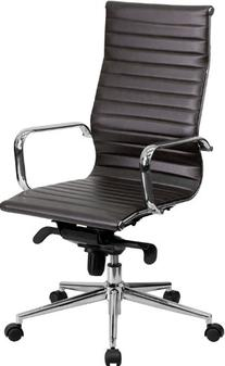 Contemporary High-Back Office Chair, Brown