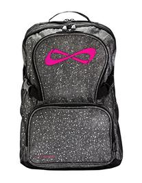 Nfinity Backpack with Logo, Sparkle Grey/Pink