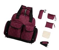 Large 5pcs Backpack Diaper Bag 3 Carrying Options Wine Dots