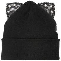 SILVER SPOON ATTIRE Bad Kitty Beanie Hat With Lace Ears -