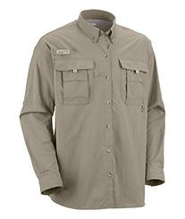 Columbia Men's Bahama II Long Sleeve Shirt, Fossil, Large