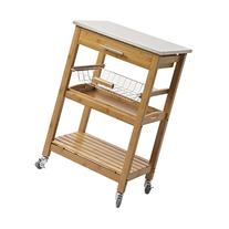 Bamboo Kitchen Cart with Stainless Steel Top