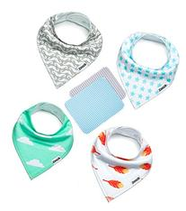 Baby Bandana Drool Bibs with 2 Burp Cloths, Unisex 6-Pack