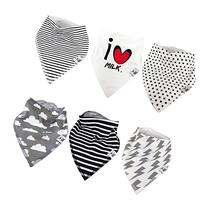 Bandana Drool Teething Bib For baby 6 Pack Unisex Gift Set I