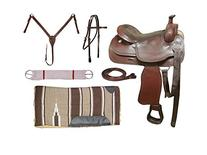 Tahoe Barbed Wire Tooled Leather Trail Saddle, Mohogany, 15