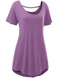 Doublju Womens Basic Comfy Short Sleeve Oversized Long Tunic