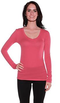 Active Basic Women's Plain Basic Cotton Blend Deep V Neck T