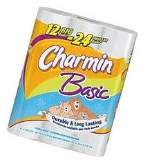 Charmin Basic Toilet Paper, Double Roll, 12 Count