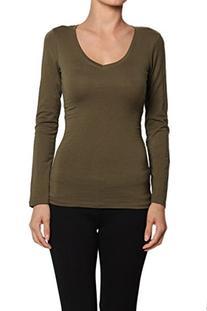 TheMogan Women's Basic Plain V-Neck Long Sleeve T-Shirts