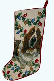 Basset Hound Dog Needlepoint Christmas Stocking