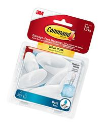 Command Bath Hook Value Pack, Medium, Clear Frosted, 6-Hooks