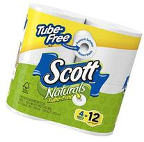 Scott Tube-Free Bath Tissue, Mega Roll, 4 Count