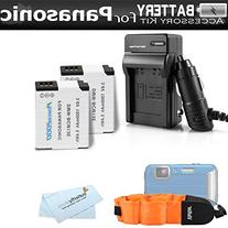 2 Pack Battery And Charger Kit For Panasonic Lumix DMC-TS5,