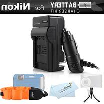 Battery Charger Kit For Nikon COOLPIX AW120, AW110, AW130,