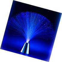 Battery-Operated Blue LED Fiber Lamp with Chrome Base