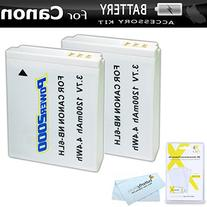 2 Pack Replacement NB-6L Battery Kit For Canon PowerShot