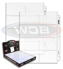 """BCW Box of 100 BCW Pro 8-pocket Pages,4 1/8"""" X 2 3/4"""" -"""