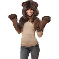 Brown Bear Full Animal Hood Hoodie Hat Faux Fur 3 in 1