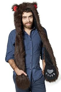 Bear Full Animal Hoodie Faux FUR Brown Hat 3-in-1 Function