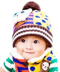 Happy Cherry Girl Boy Bear Splice Winter Warm Crochet Knit